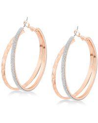 "Guess Rose Gold-tone 2"" Glitter Double Hoop Earrings - Metallic"