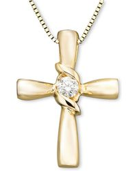 Sirena - Serena 14k Gold Diamond Cross Pendant (1/10 Ct. T.w.) - Lyst