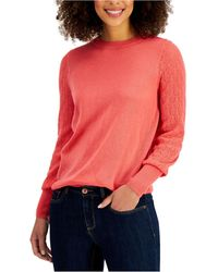 Style & Co. Mixed-stitch Pointelle Sweater, Created For Macy's - Pink