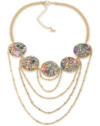 ABS By Allen Schwartz - Gold-tone Stone And Crystal Statement Necklace - Lyst