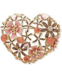 Anne Klein Gold-tone Crystal & Stone Flower Heart Pin - Metallic