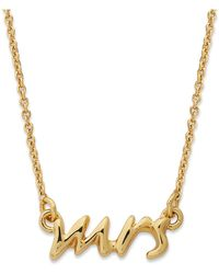 Kate Spade - Necklace, 12k Gold-plated Say Yes Mrs. Pendant Necklace - Lyst