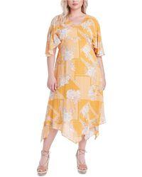 Jessica Simpson Trendy Plus Size Toni Printed Dress - Yellow