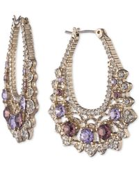 "Marchesa Medium Gold-tone Crystal Ornate Hoop Earrings 1-2/5"" - Metallic"