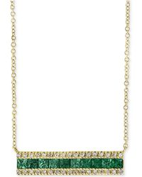 """Effy Collection - Brasilica By Effy® Emerald (1 Ct. T.w.) & Diamond (1/8 Ct. T.w.) Bar 18"""" Pendant Necklace In 14k Gold - Lyst"""