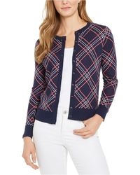 Charter Club Plaid Cardigan Sweater, Created For Macy's - Blue