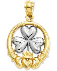 Macy's - 14k Gold And Sterling Silver Charm, Claddagh And Shamrock Charm - Lyst