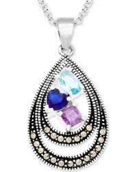 "Macy's - Cubic Zirconia & Marcasite Double Teardrop 18"" Pendant Necklace In Fine Silver-plate - Lyst"