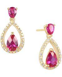 Macy's Certified Ruby (1-1/5 Ct. T.w.) & Diamond (1/20 Ct. T.w.) Openwork Teardrop Drop Earrings In 14k Gold-plated Sterling Silver - Metallic