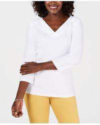 Karen Scott Petite Eyelet V-neck Cotton Top, Created For Macy's - White