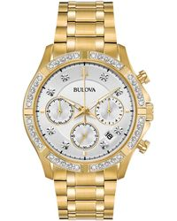 Bulova - Chronograph Diamond-accent Gold-tone Stainless Steel Bracelet Watch 42mm, Created For Macy's - Lyst