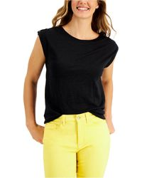 Charter Club Linen Top, Created For Macy's - Black