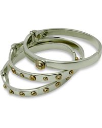 Guess - Two-tone 3-pc. Set Studded Bangle Bracelets - Lyst