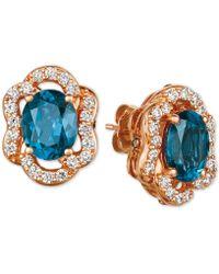 Le Vian ® Deep Sea Blue Topaz (4-1/5 Ct. T.w.) & Diamond (7/8 Ct. T.w.) Stud Earrings In 14k Rose Gold
