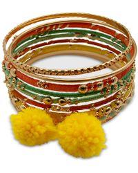 e4cad6aa91c77 Gold-tone 9-pc. Set Thread Wrapped & Pom-pom Bangle Bracelets