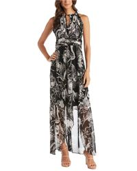 R & M Richards Printed Ruched Maxi Dress - Black