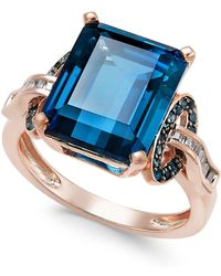 Macy's - London Blue Topaz (6-5/8 Ct. T.w.) And Diamond (1/4 Ct. T.w.) Ring In 14k Rose Gold - Lyst