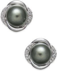 Macy's - Cultured Tahitian Pearl (8mm) & Diamond (1/8 Ct. T.w.) Stud Earrings In 14k White Gold - Lyst