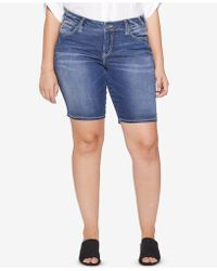 Silver Jeans Co. - Plus Size Suki Stretch Denim Bermuda Shorts - Lyst