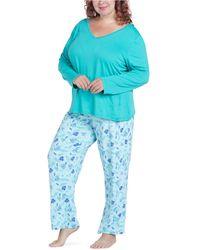 Muk Luks Cool Girl Pajama Set - Blue