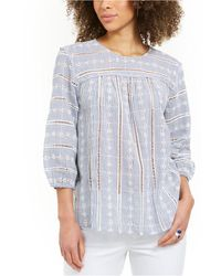 Style & Co. Striped Eyelet 3/4-sleeve Top, Created For Macy's - Blue