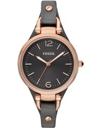 Fossil - Women's Georgia Ash Gray Leather Strap Watch 32mm Es3077 - Lyst