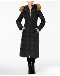 Jones New York - Faux-fur-trim Down Maxi Coat - Lyst