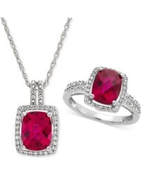 Macy's - Lab Created Ruby (4 Ct. T.w.) & White Sapphire (1 Ct. T.w.) Pendant Necklace & Ring In Sterling Silver - Lyst