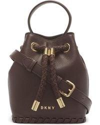 DKNY Leather Winnie Small Bucket - Brown