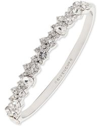 Givenchy Silver-tone Crystal Cluster Bangle Bracelet - Metallic