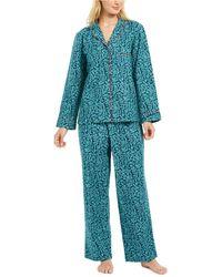 Charter Club Petite Cotton Flannel Pyjama Set, Created For Macy's - Blue