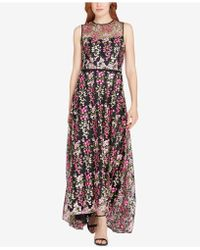 Tahari - Floral-embroidered Illusion Gown - Lyst