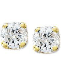 Macy's - 10k Gold Earrings, Round-cut Diamond Accent Stud Earrings - Lyst