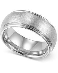Triton - Mens Tungsten Ring, 8mm White Tungsten Comfort Fit Wedding Band - Lyst