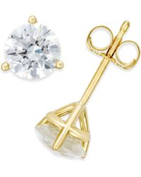 Macy's - Near Colorless Certified Diamond Stud Earrings In 18k White Or Yellow Gold (1-1/4 Ct. T.w.) - Lyst
