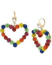 "Betsey Johnson Rainbow Stone Fireball Heart Drop Earrings In Gold-tone Metal, 2"" - Multicolor"