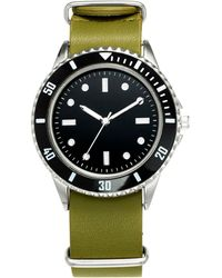 INC International Concepts Green Leather Strap Watch 40mm, Created For Macy's