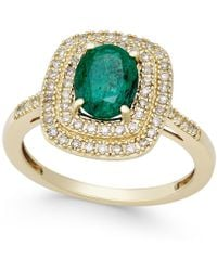 Macy's - Emerald (1-1/10 Ct. T.w.) And Diamond (1/3 Ct. T.w.) Ring In 14k Gold - Lyst