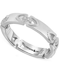 Proposition Love - Diamond Triangle Motif Ring In 14k White Gold (1/10 Ct. T.w.) - Lyst