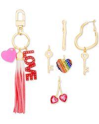 Steve Madden - Interchangeable Charm Key Ring & Heart Hoop Earrings Set - Lyst