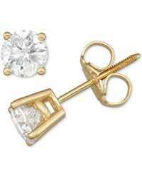 Macy's Diamond Stud Earrings (3/4 Ct. T.w.) In 14k White Or Yellow Gold - Metallic