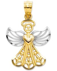 Macy's 14k Gold And Sterling Silver Charm, Filigree Angel Charm - Metallic