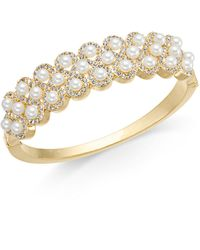 Charter Club - Gold-tone Pavé & Imitation Pearl Bangle Bracelet, Created For Macy's - Lyst