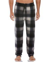 Perry Ellis Portfolio Relaxed-fit Plaid Fleece Pajama Pants - Gray