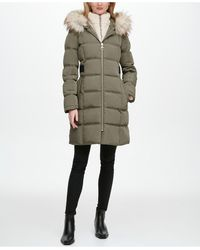 DKNY Fleece-lined Faux-fur-trim Hooded Puffer Coat, Created For Macy's - Multicolor