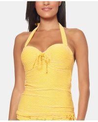 Jessica Simpson Textured Stripe Underwire Sweetheart Tie Tankini Top - Yellow