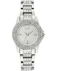 Badgley Mischka Ladies Silver-tone Bracelet With Swarovski Crystal Accents Watch 31.5mm - Metallic