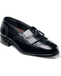 Florsheim Shoes, Lexington Kiltie Tasseled Wing Tip Slip On Loafers - Black