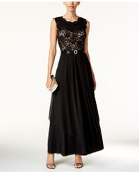 R & M Richards Sequined Lace And Chiffon Gown - Black