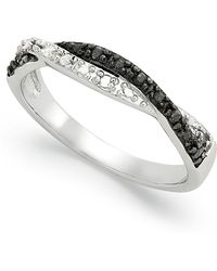 Macy's Black And White Diamond Weave Ring In Sterling Silver (1/10 Ct. T.w.) - Metallic